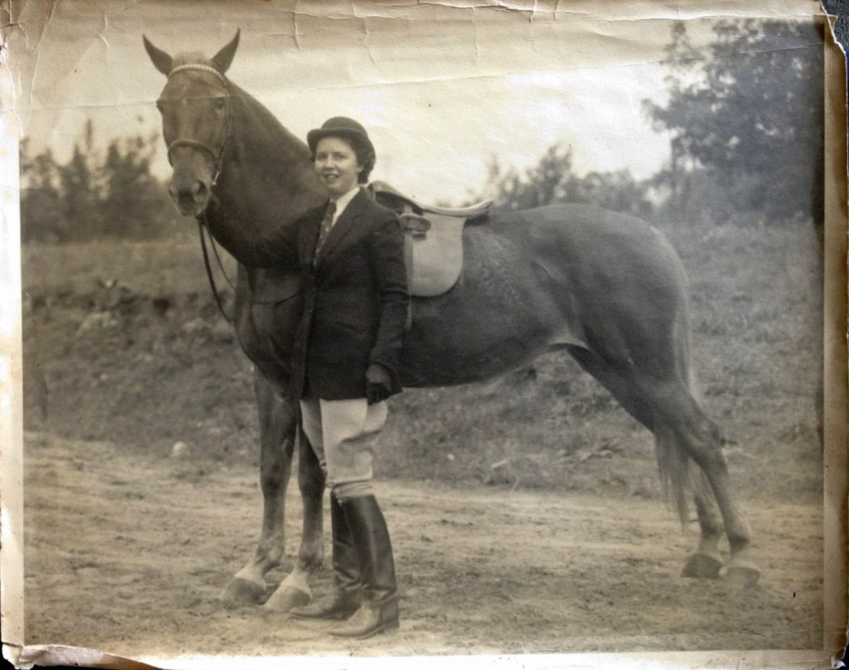 With her horse